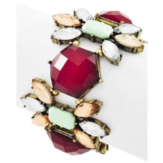 Burgundy & Mint Acrylic Bracelet