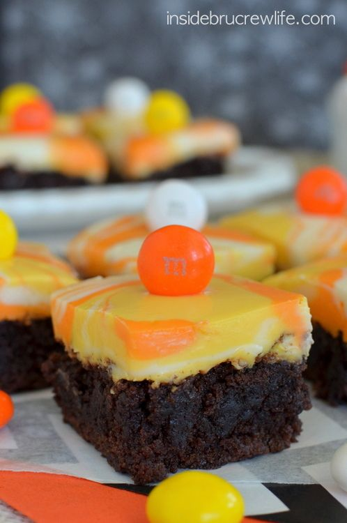 Candy Corn M & M Fudge Brownies