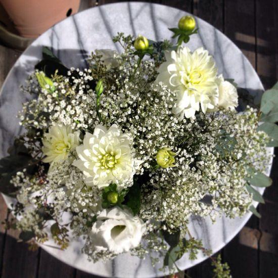 All white flower arrangement