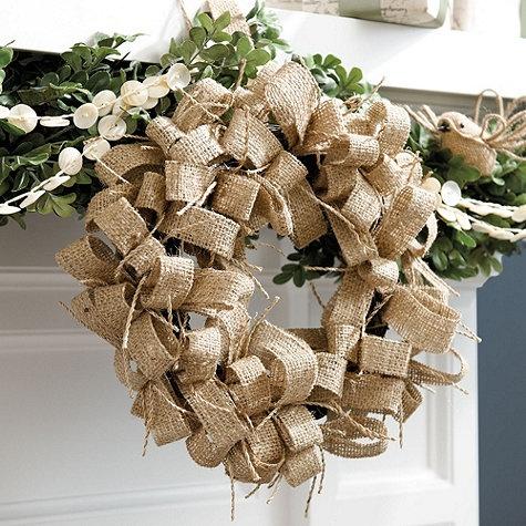 Burlap Wreath via @Ballard Designs