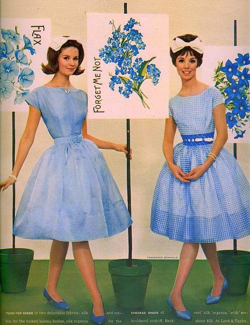 #vintage #sixties #1960s #style #fashion #retro #blue #dresses