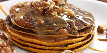 Carrot Cake Pancakes with Maple Cream Cheese Icing