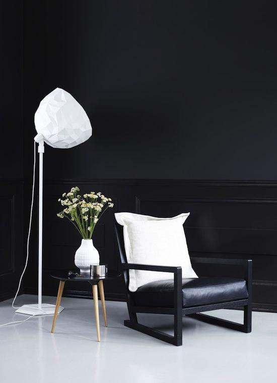 #black #walls #white #floors #interior #design #noir #home #decor
