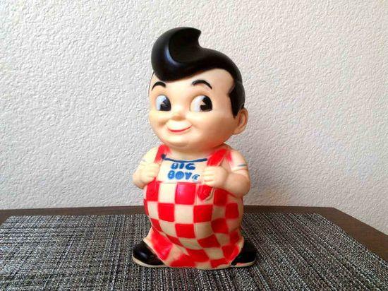 1960s Big Boy Restaurant Rubber Doll Figurine Bank