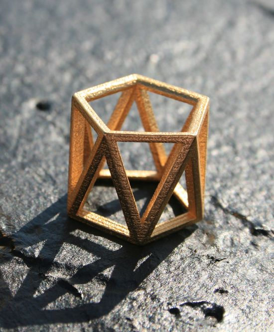 SKELETON TALL - Yellow gold faceted modern geometric 3D printed ring