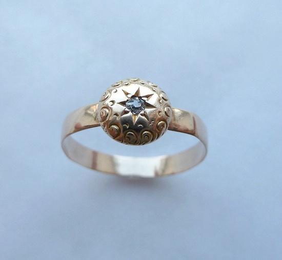 Darling Victorian Antique Diamond Engraved Ring 14K. $165.00, via Etsy.