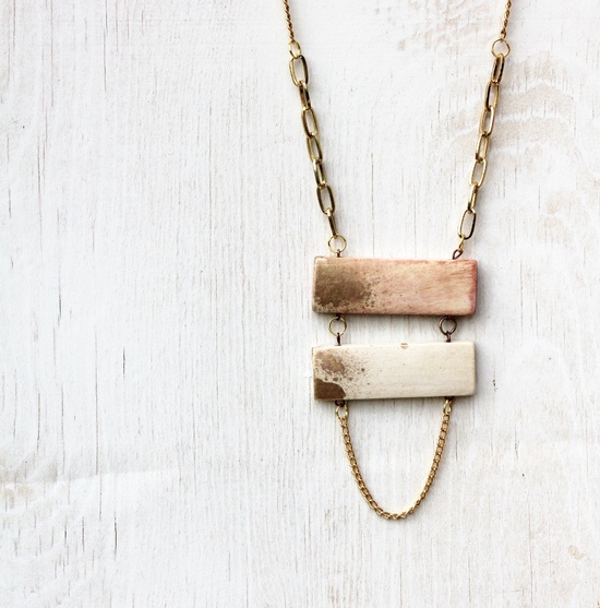 Gold dipped ladder necklace  limited edition by Tzunuum on Etsy, $45.00
