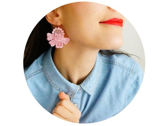 Mosilia // Handmade Flower Lace Earrings - Soft Pink - Bronze Brass on Etsy, $18.00