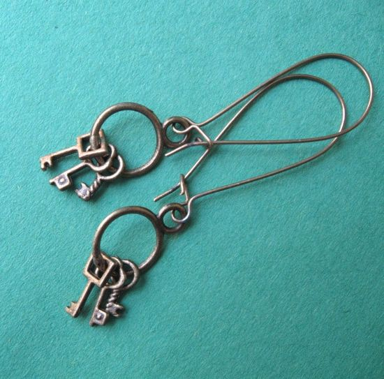 LOST YOUR KEYS earrings on French wires. $7.00. Really cute.