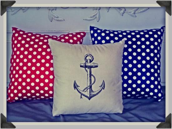 Screenprinted Anchor Cushion Nautical handmade tattoo alternative. $24.99, via Etsy.