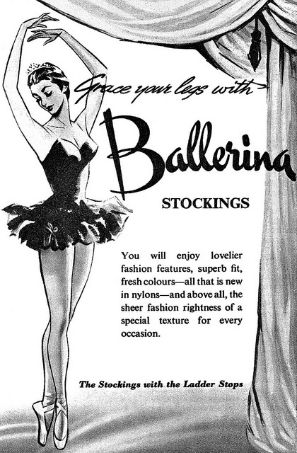 Grace your legs with Ballerina stockings. #vintage #ad #stockings #1950s