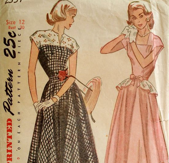 Vintage 1940s Peplum Dress Pattern Simplicity by ThePlayfulNeedle, $18.00