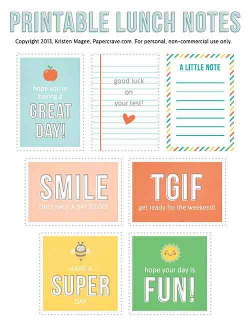 Back to School - Free Printable Lunch Notes by Paper Crave via LivingLocurto.com