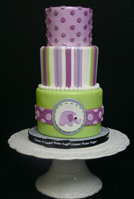 Adorable elephant-themed  cake by Gimme Some Sugar (vegas!), via Flickr