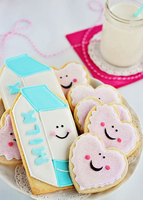 adorable Milk and Cookies Iced Cookies