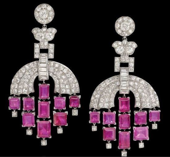 A PAIR OF ART DECO RUBY AND DIAMOND EAR PENDANTS, BY CARTIER