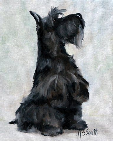 black scottie scottish terrier dogs puppy art painting by mary sparrow smith from hanging the moon, home decor, gift ideas