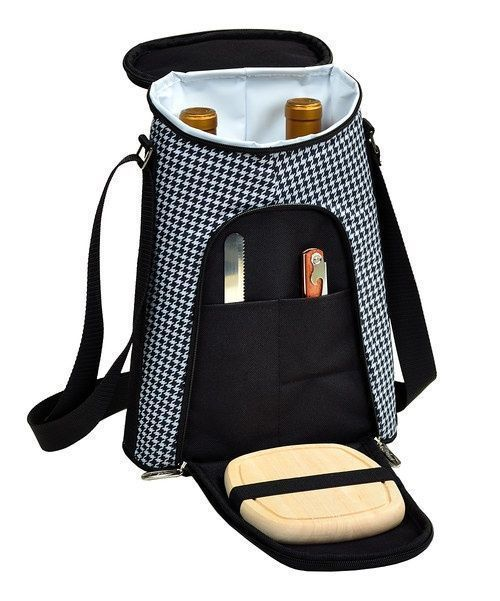 Prepare for picnic season with this fully stocked tote. Made for two bottles of wine and accompanying cheese, it boasts a leakproof lining, Thermal Shield insulation and a movable interior divider. It's even stocked with a cutting board, cheese knife and corkscrew for go-anywhere elegance.Includes carrier, cutting board, cheese knife and corkscrew9.5''