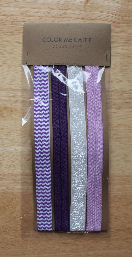 elastic headbands -- purple party palette / etsy