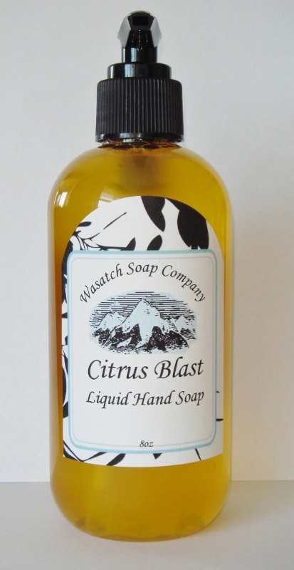 CItrus Blast Handmade Liquid Soap  All Natural - A pure, luxurious, creamy liquid soap...not drying like commercial brands. No added detergents, just moisturizing oils that clean and nourish your skin. I use the same wonderful ingredients in my liquid soaps that I use in my bar soaps.     A refreshing union of lemon, lime and orange essential oils make this a citrus lovers first pick. Works well in the kitchen to remove kitchen odors (garlic, fish, onions, etc.) from your hands.