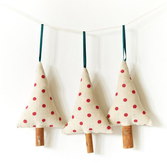 Primitive Holiday Ornament Christmas Decoration Cinnamon Trees - Set of 3