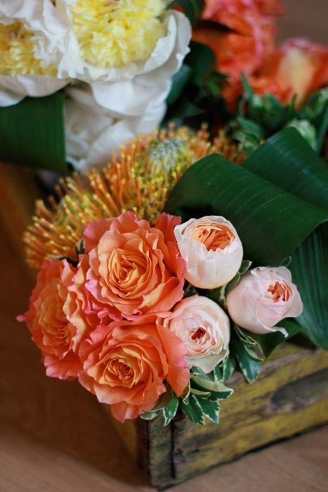 Peach, orange and yellow flower arrangement with roses and pin cushions by Sachi Rose