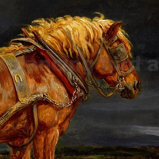Gorgeous Draft Horse Vintage Painting Digital by DancingBirdArts