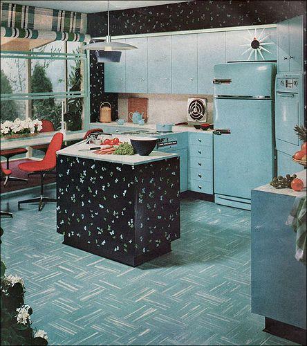 1955 Powhatan Turquoise Kitchen