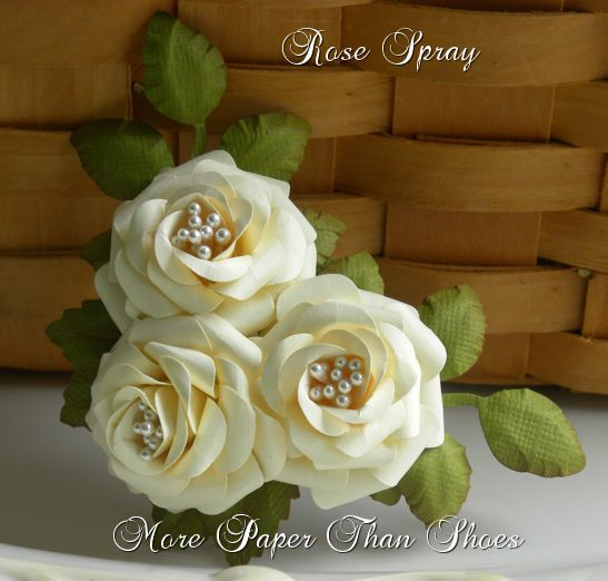 Paper Roses - Handmade Rose Spray - Cream