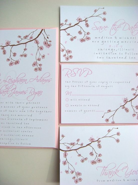 Madison Wedding Invitation Sample Set #wedding #weddings #invitation #invitations #floral #flowers #cherry #blossoms #pink #spring