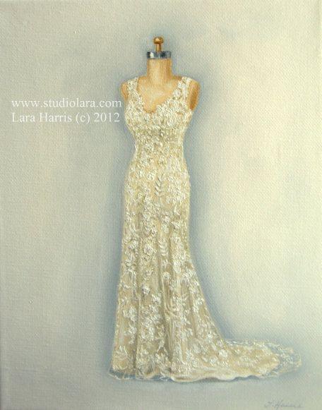 #CUSTOM #Wedding #Dress Illustration Painting in OIL #etsy #gown