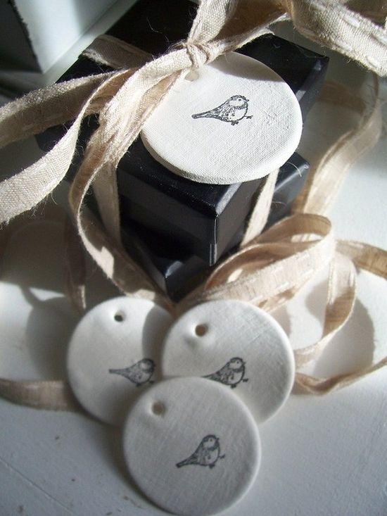 Petite Bird Clay Mini Tag set of 4 by marleyandlockyer on Etsy, $10.00