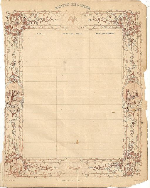 Victorian Ephemera Family Register