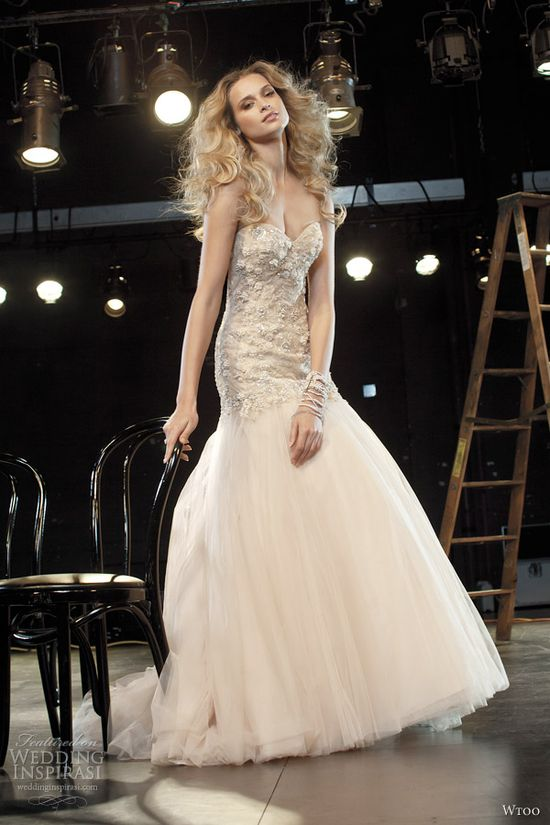 wtoo fall 2012 oatmeal blush strapless drop waist wedding dress