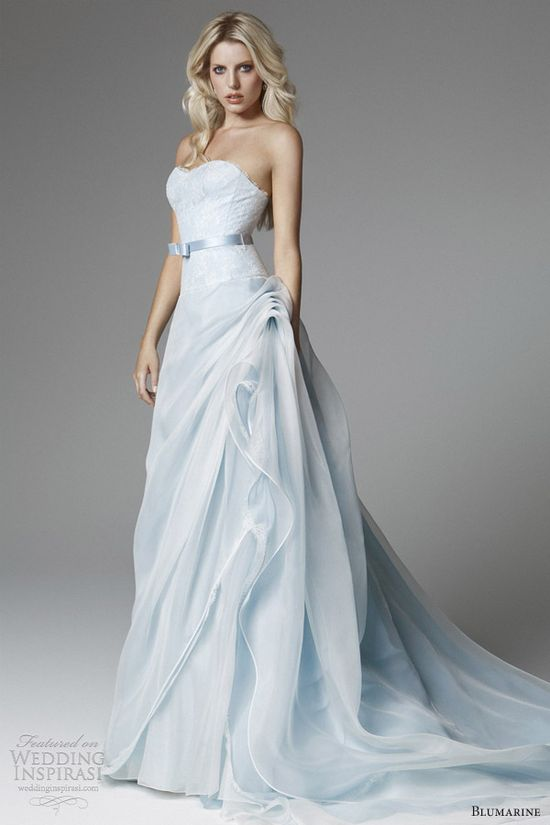 blumarine 2013 bridal light blue wedding dress strapless flange skirt