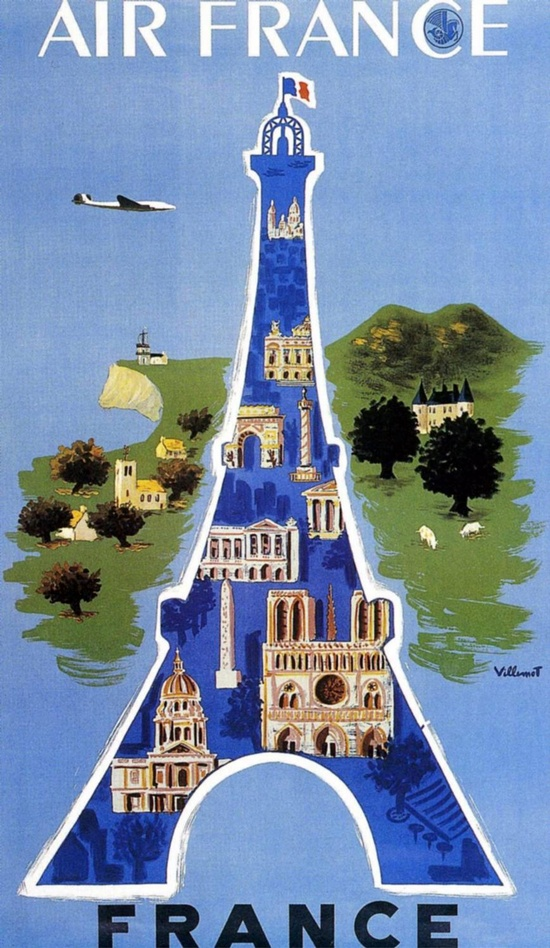 Air France vintage travel poster Eiffel Tower  nice!