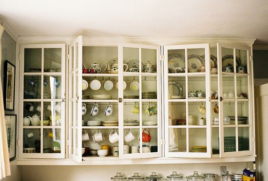 open cupboards
