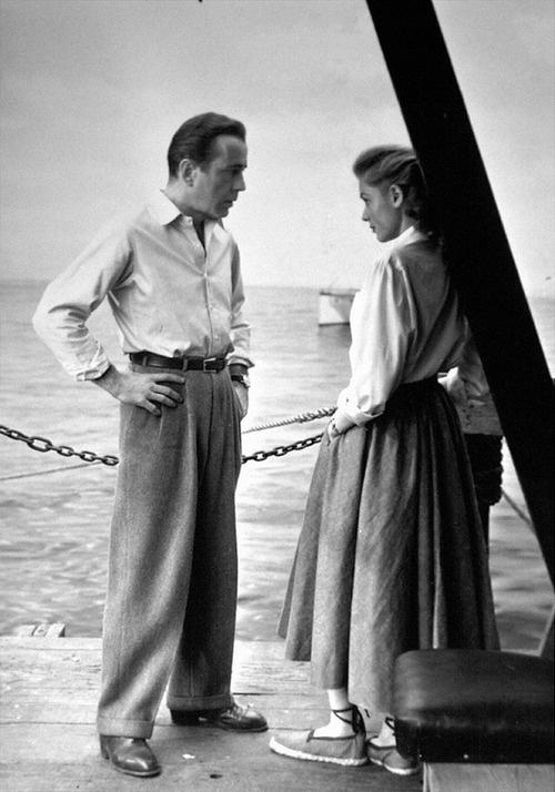 Humphrey Bogart et Lauren Bacall, 1948, la production encore de Key Largo