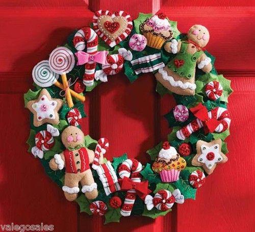 Bucilla #Felt #Applique #COOKIES & #CANDY #Wreath ? #ebay #sale #Christmas #holiday #gift #home #interior #walldecor #DIY #project #handcraft #handmade #decor #needlework #stitching #personalize #madeinusa