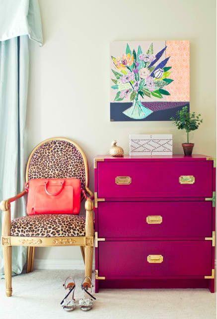 love this magenta campaign dresser