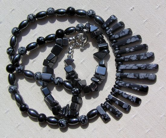 Snowflake Obsidian & Hematite Gemstone Crystal by SunnyCrystals, £23.75