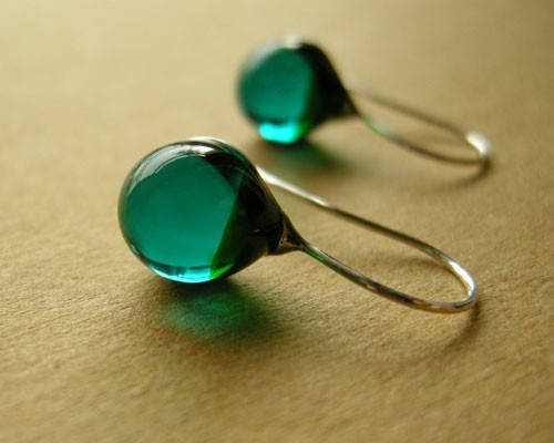 BEAUTIFUL green glass earnings. $28