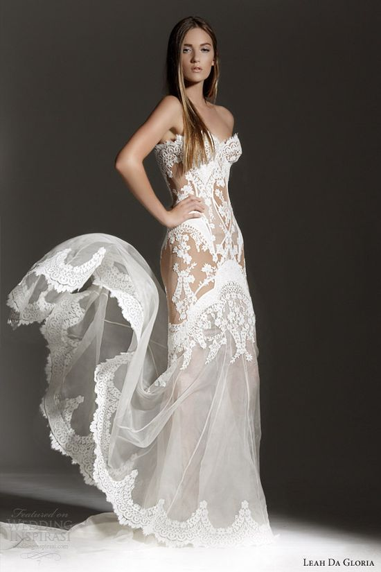 leah da gloria bridal 2013 strapless wedding dress lace