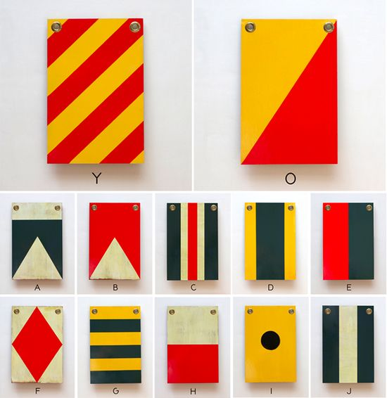 Wooden nautical flags