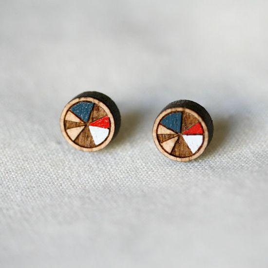 // wooden hand painted stud earrings