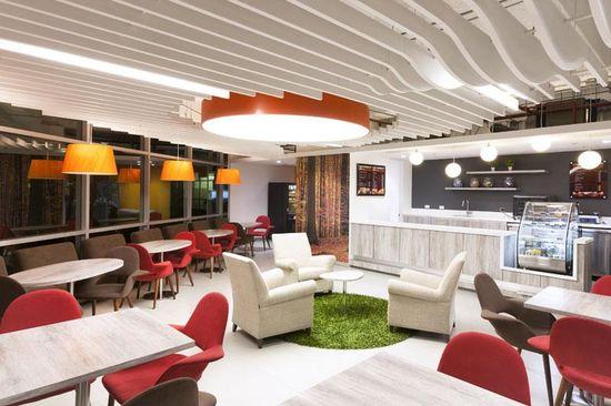 #Feature ceiling #pendant # light floor #carpet insert - GlaxoSmithKline's Bogotá Offices