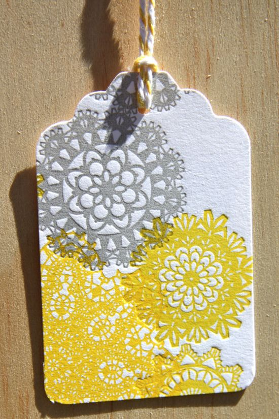 gift tags, yellow and grey