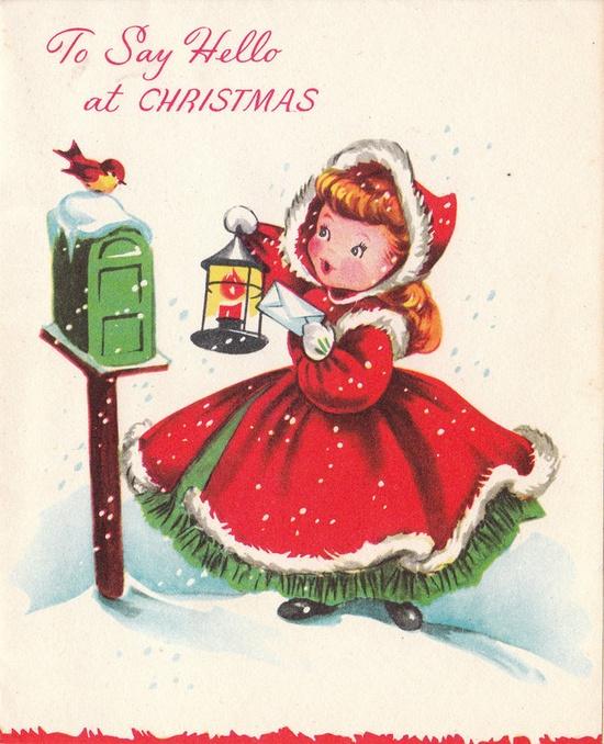To say hello at Christmas. #vintage #Christmas #cards
