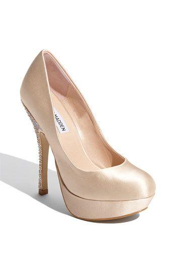 nude satin heel with crystals on the heel