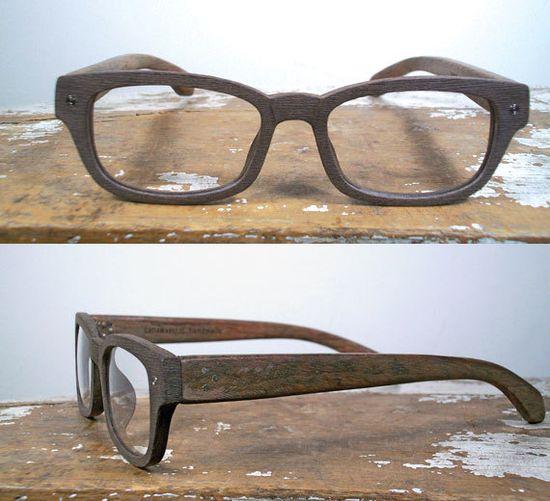 handmade rectangular wood and textured acetate by SpectatorFrames,